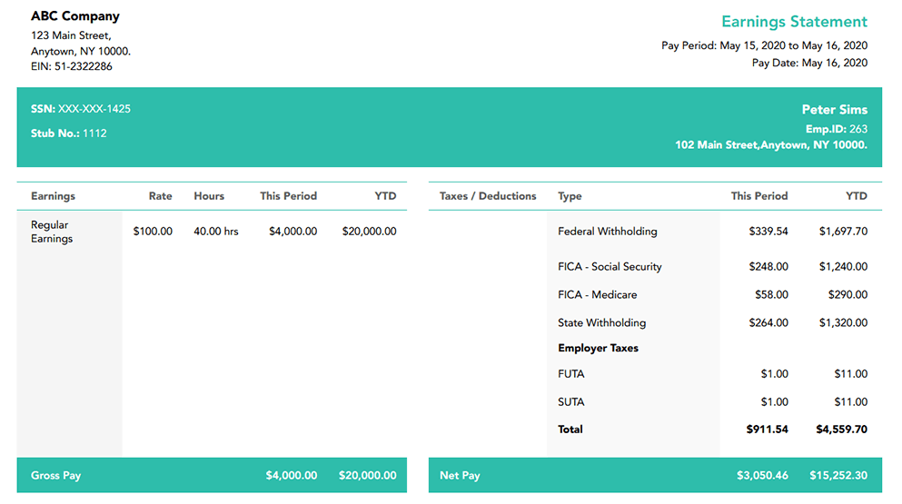 Free Carolina Forest paystub template