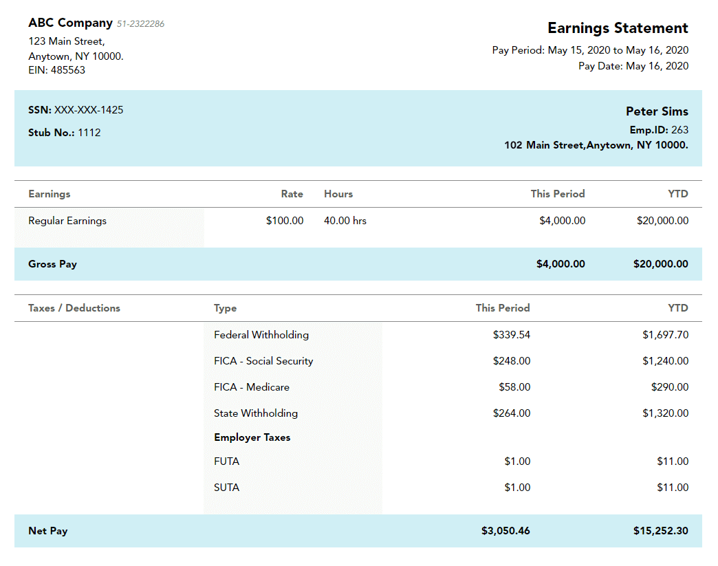 Free Murray paystub template